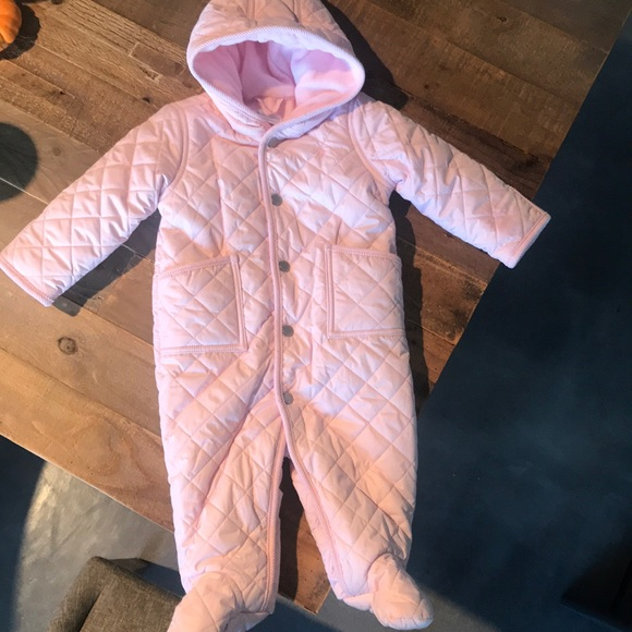 Ralph Lauren Polo Baby Quilted One Piece Snowsuit Jacket Pink//White//Navy New